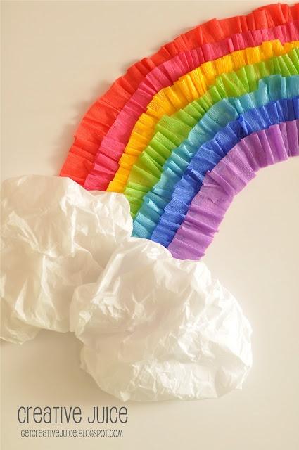 Como hacer un arcoiris con papel crepe for Manualidades con papel crepe