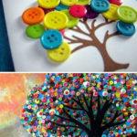 Hermosos cuadros hechos con botones de colores