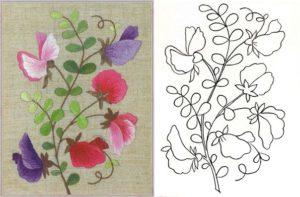 patrones para bordar flores mano.