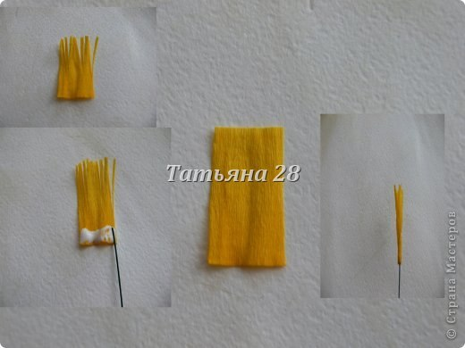 Como hacer azafranes de papel crepe (1)