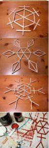 Como hacer copos de nieve con palitos de madera (2)