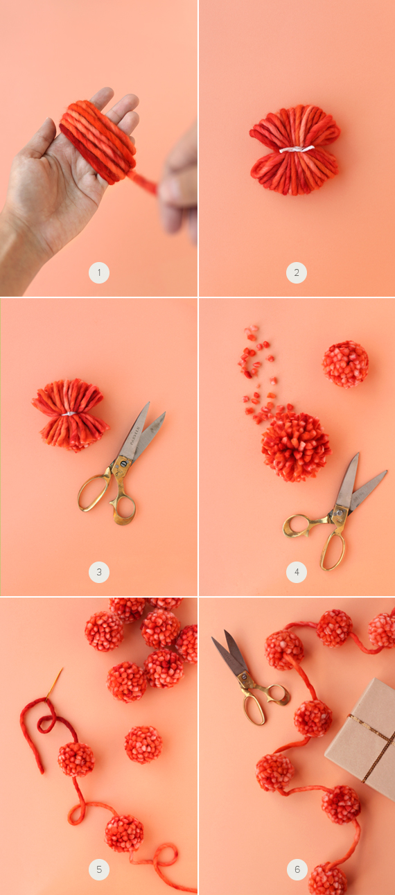 Como hacer una guirnalda con pompones de estambre - Como hacer una claraboya ...