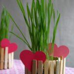 Maceta decorada con pinzas para ropa de madera