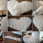 Almohada hecha con un sueter reciclado