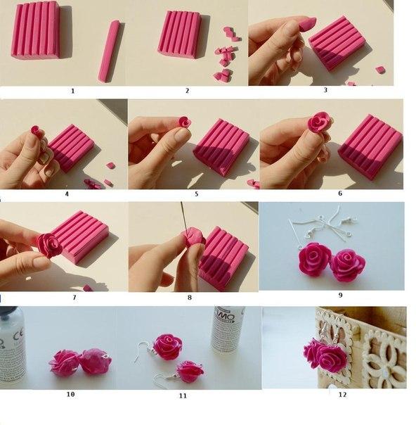 3a398bb07352 Aretes de arcilla polimerica con forma de rosas