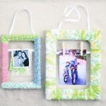 Como decorar un portaretratos con tiras de tela reciclada