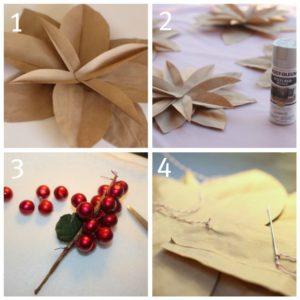 Como hacer flores de noche buena con papel reciclado (3)