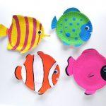 Como hacer peces con platos de carton reciclado