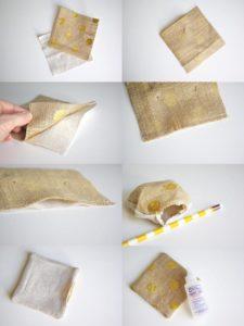 Como hacer posavasos de arpillera con motas doradas - Como hacer posavasos ...