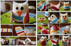 Como hacer un buho con calcetines reciclados