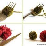 Como hacer mini pompones con ayuda de un tenedor