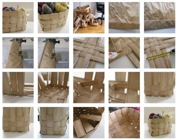 Como hacer una canasta con tiras de tela reciclada (2)