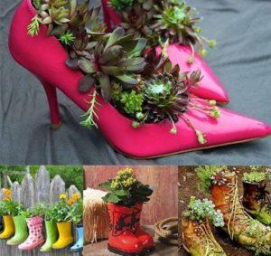 Macetas hechas con zapatos