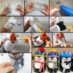 Pinguinos navideños hechos con botellas de refrescos