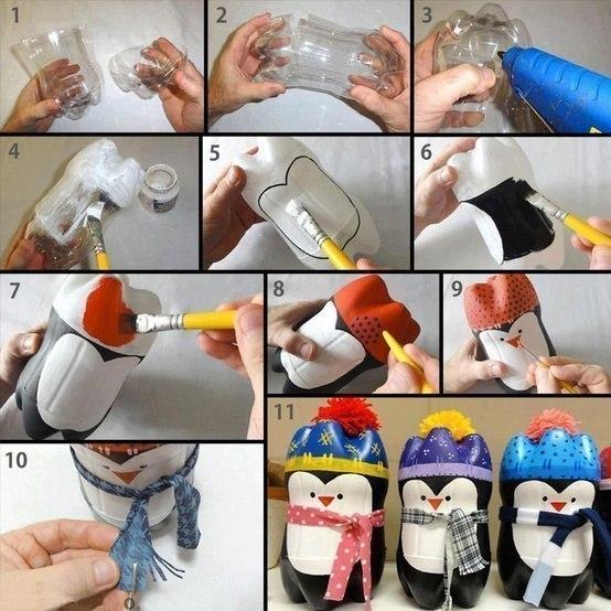 Pinguinos hechos con botellas