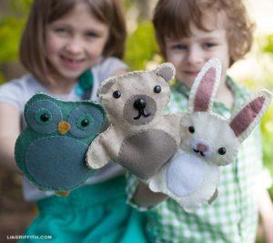 Titeres de fieltro de buho, conejo y oso