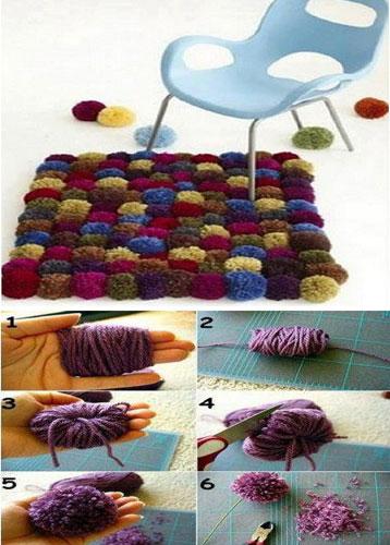 Como hacer alfombras de pompones for Lana para hacer alfombras