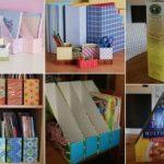 Organizador de revistas con cajas de cereal recicladas