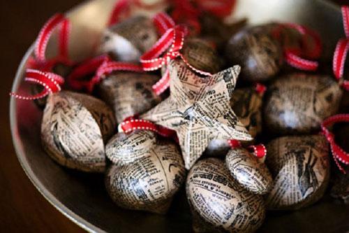 Adornos De Navidad Con Papel Periodico