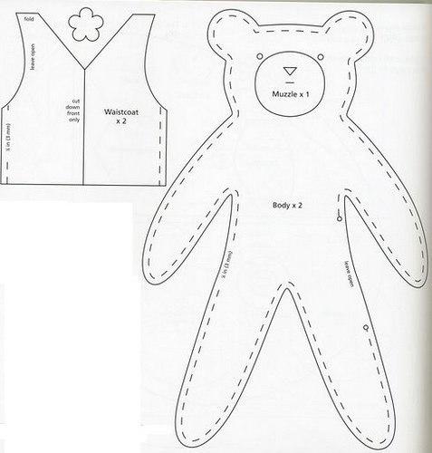 moldes para hacer osos de fieltro