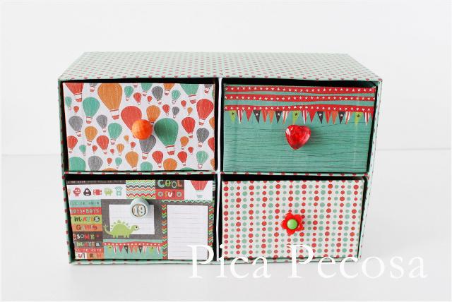 Cajonera con cajas de carton decoradas - Cajas de zapatos decoradas ...
